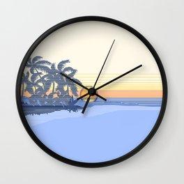 Big Sunset Hawaiian Surfer Striped Scenic Wall Clock