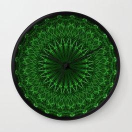 Digital mandala in green tones Wall Clock