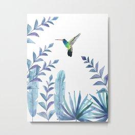 Hummingbird with tropical foliage Metal Print