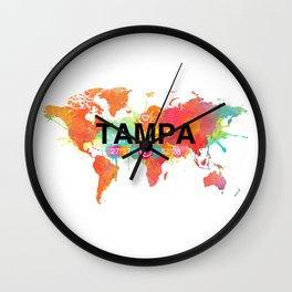 Vivid Watercolor Tampa Florida Map Wall Clock