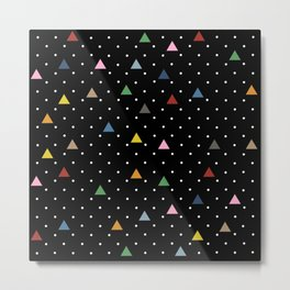 Pin Point Triangles Black Metal Print