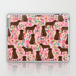 Chocolate Labrador Retriever dog floral gifts must haves chocolate lab lover Laptop & iPad Skin