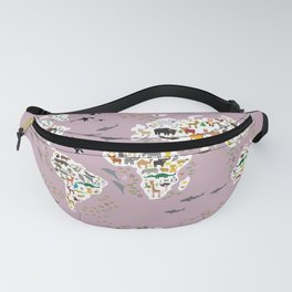 Cartoon animal world map, back to school. Animals from all over the world lilac purple Fanny Pack