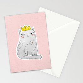 Cute cat with crown pink background Stationery Cards