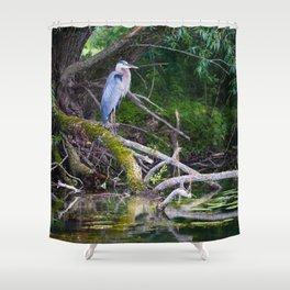 Heron under the tree Shower Curtain