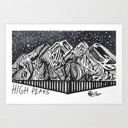 """High Peaks"" Hand-Drawn Adirondacks by Dark Mountain Arts Art Print"