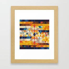 Geometric Triangle - Ethnic Inspired Pattern - Orange, Blue Framed Art Print