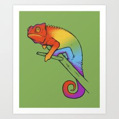 Confused chameleon Art Print