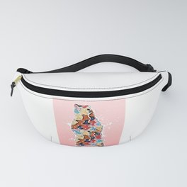 Colorful Grizzly Bear Abstract on Pink Fanny Pack