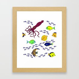 Squid and fish Framed Art Print