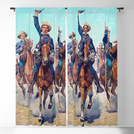 """""""Cavalry Charge"""" Western Art by Charles Schreyvogel Blackout Curtain"""