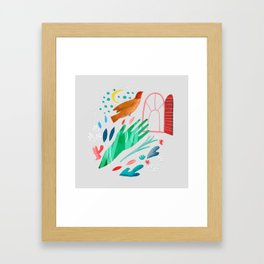 Saw the treetops, and up she flew Framed Art Print