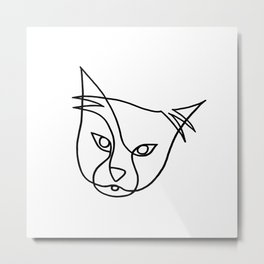 Single line cat Metal Print