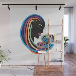 Tangle of color - black beauty Wall Mural