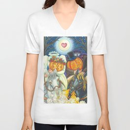 SLEEPY HOLLOW WEDDING - Brack Headless Horseman Halloween Art Unisex V-Neck