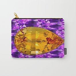 November Golden Topaz on Amethyst gems Birthstone Design  Carry-All Pouch