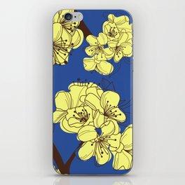 Hand Drawn Yellow Wild Flowers on Blue iPhone Skin