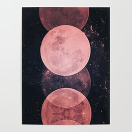 Pink Moon Phases Poster