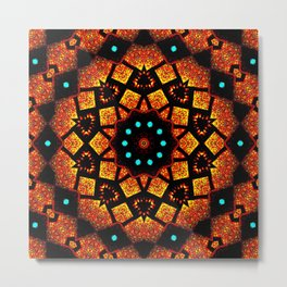 Bright Red Orange Mosaic Kaleidoscope Mandala Metal Print
