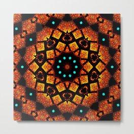 Bright Red Orange Mosaic Kaleidoscope Mandala Metal Print