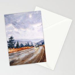 Rainy Drive Home Stationery Cards