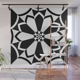 Black and White Floral Pattern Design Wall Mural