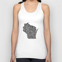 wisconsin Tank Tops featuring Typographic Wisconsin by CAPow!