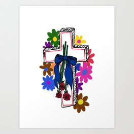 ♡ flowered cross ♡ Art Print