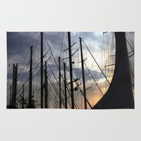 sailing Area & Throw Rugs featuring sailing by gzm_guvenc