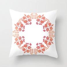 Orange floral circle Throw Pillow