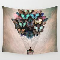 butterflies Wall Tapestries featuring Dream On by Christian Schloe