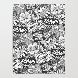 Black and White Modern Comic Book Superhero Pattern Color Colour Cartoon Lichtenstein Pop Art Poster