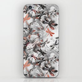 Dragonfly Lullaby in Marble and Rose Gold iPhone Skin