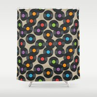 records Shower Curtains featuring Vinyl Records by PatternInk