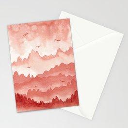 misty mountains - light red palette Stationery Cards