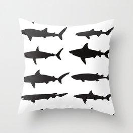 Shark Silhouettes Throw Pillow