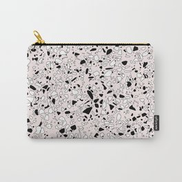 'Speckle Party' Pink Black White Dots Speckle Terrazzo Pattern Carry-All Pouch
