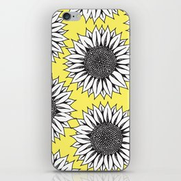 Yellow Sunflower in Black and White Hand Drawing iPhone Skin