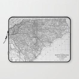 Vintage Map of The Carolinas (1891) BW Laptop Sleeve