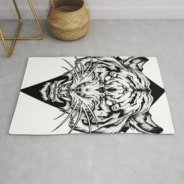 TIGER head. Tattoo,psychedelic / zentangle style Rug
