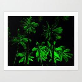 Night green palm trees Art Print