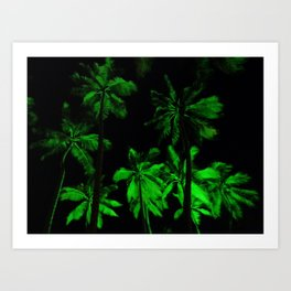Night green palm trees Art Print