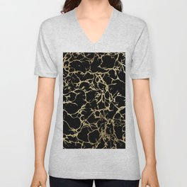 Stylish black faux gold foil elegant marble Unisex V-Neck