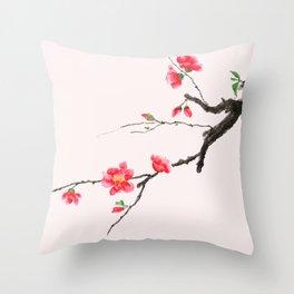 red Japan begonia Throw Pillow