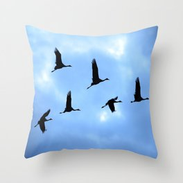 Welcome back! Cranes in flight #decor #society6 Throw Pillow