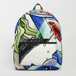 Ufo with a betafish in a crystal fish bowl Backpack