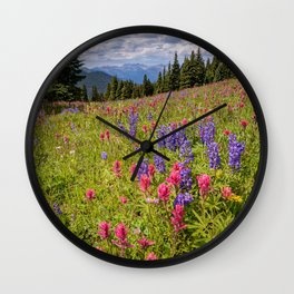 Colorado Summer Wildflowers Vail Shrine Ridge Rocky Mountain Landscape Wall Clock