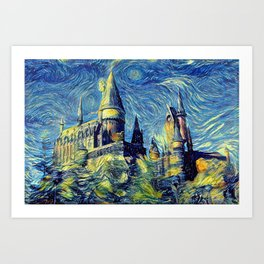Hogwarts Starry Night Fantasy Castle Tapestry Art Print