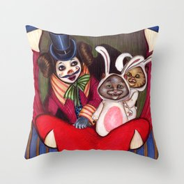 Bella and cats Throw Pillow