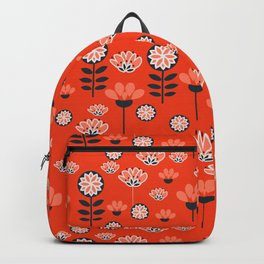 Whimsy wildflowers in red Backpack